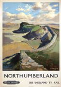 Hadrian's Wall, Northumberland. Vintage British Railways (ER) Travel poster by Jack Merriott